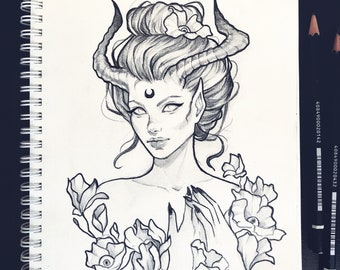 Demon of spring skull tattoo design ravens grunge roses boho fantasy gothic occult sketch original art A5 (15x20 cm)