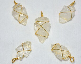 5 Pieces Wire Wrapped Arrowhead Pendant, Natural Crystal Quartz Electroplated Gold Polish Pendant, Raw Gemstone Connectors, 25mm - 30mm