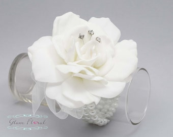 White Gardenia Wrist Corsage- Real Touch Flowers- Wedding - Prom Corsage- Flower Bracelet- Wristlet Wrist Corsage, Gardenia Corsage