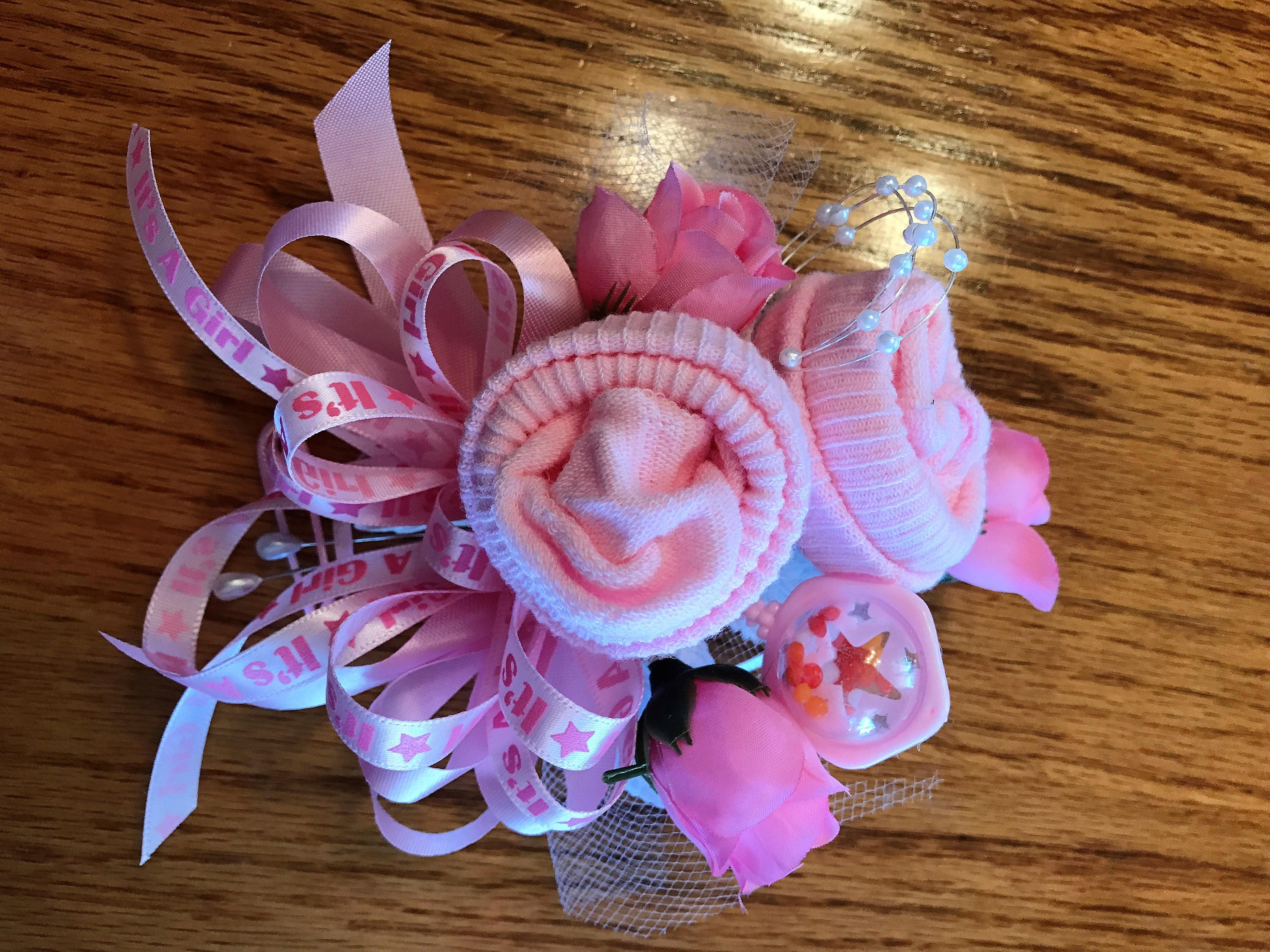 Baby sock corsage handmade baby sock shower corsage baby shower gift negle Gallery