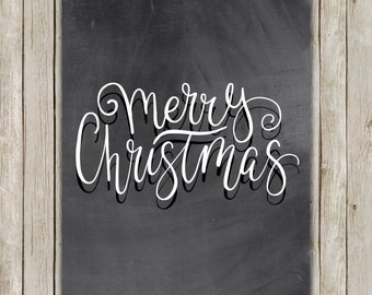 8x10 Christmas Printable Decor, Merry Christmas, Typography Print, Typography Art, Chalkboard Poster, Holiday Decor, Art, Instant Download