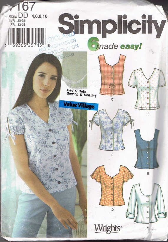 Size 4-10 Misses\' Easy Blouse Sewing Pattern - Scoop Neck Or V Neck ...