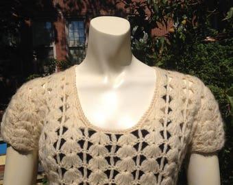 White hot wool crocheted 1960s mini-dress! size small