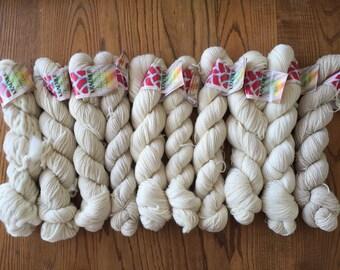 dyer's sample pack, undyed yarn, yarn for dying, merino yarn, merino wool, cotton yarn, alpaca yarn, wool yarn, Kraemer Yarns Natural Skeins