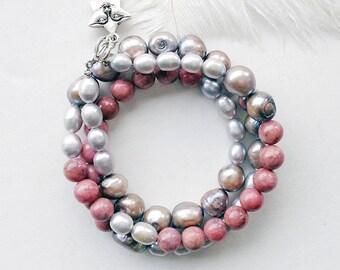 Wrap bracelet / Pearl bracelet / Gemstone bracelet / Rhodonite bracelet / Pink bracelet / Gray bracelet / Silver bracelet / Star bracelet