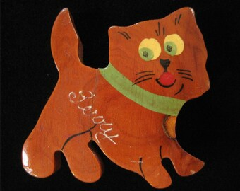 1950's Hand Painted Wood Cat Brooch