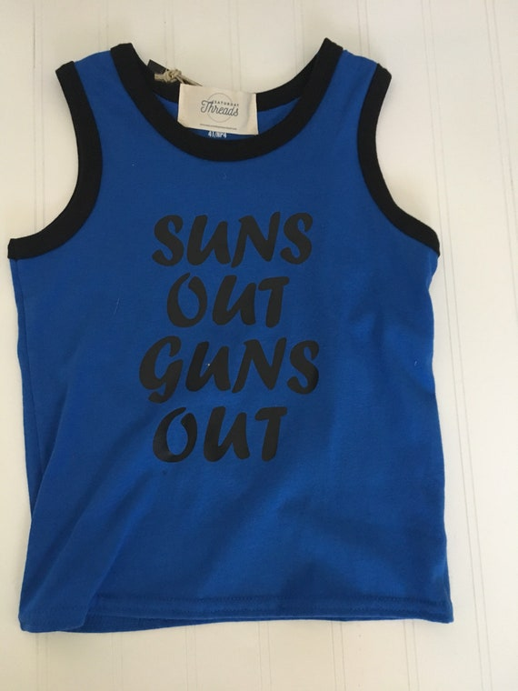 Suns out guns out tank top 4t blue ready to ship summer boys tank top, boys summer clothes, tank shirt, suns out tank, boys clothes