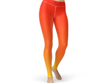 Red Yellow Ombre Leggings