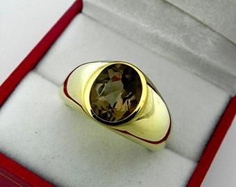 AAAA Smokey Quartz   10x8mm  2.56 Carats   in  Heavy 14K Yellow gold MAN'S ring 18 grams. 2553