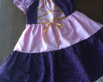 Rapunzel inspired dress/costume with hair bow *FREE SHIPPING*