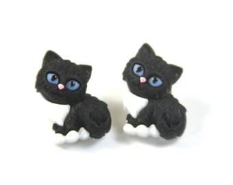 Black cat earrings, Cat stud earrings, Black cat studs, stud earrings, black earrings, Halloween earrings, Black cat earring studs