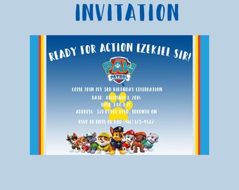 Paw Patrol Birthday Invitation *DIGITAL COPY*