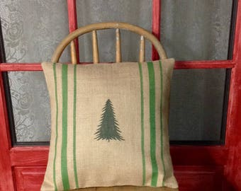 Burlap Christmas Tree Pillow Cover with True Green Grain Sack Stripes by sweet janes plan