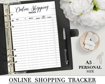 Printable ONLINE SHOPPING TRACKER insert for your Personal and A5 planner_Black & White_Two inserts for the price of one! Special Offer!!