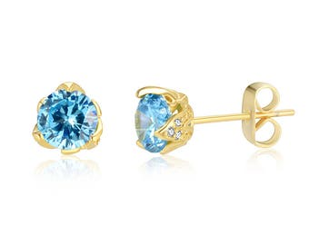 March Birthday Bequest Yellow Gold Plated Bright Aquamarine Blue Round Cubic Zirconia CZ Stud Earrings Wedding-Gift-Jewelry