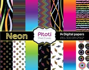 Digital paper pack, Neon DIgital Scrapbook paper, Neon Digital paper pack, Neon digital paper kit, Digital download, Printable paper.