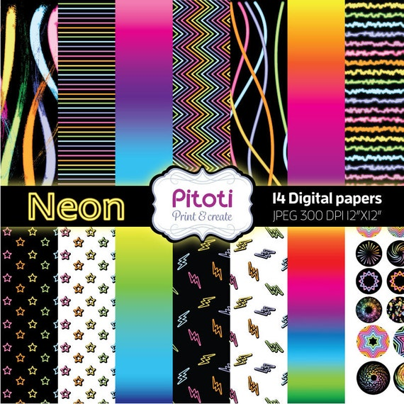 Digital Paper Pack Neon Digital Scrapbook Paper Neon Digital