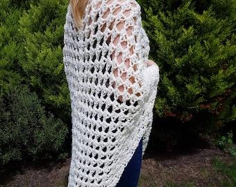 Handmade crochet Ivory Shawl, Bolero Crochet Shawl, Ivory Bridesmaid Shawl
