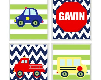 Big Boy Room Decor, Fire truck Wall Art, Police Car, Personalized Art, Toddler Boy Room, Boy Nursery, School Bus Art, Chevron Print, Stripes