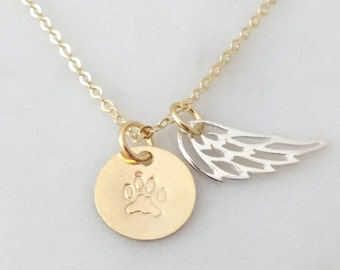 Pet Memorial Jewelry,  Paw print necklace, Loss of a Dog Gifts, Pet Memorial Gift Cat Memorial Necklace , Loss of a Pet angel wing jewelry