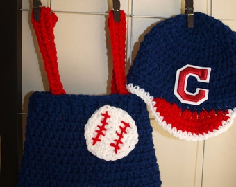 Cleveland Indians baseball hat and diaper cover, Cleveland Indians baseball baby clothes, newborn Cleveland Indians hat and shorts set