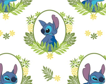 Tropical Frame in White Lilo and Stitch Disney Woven Cotton Fabric BTY