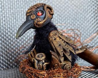 Steampunk crow art doll art toy handmade ooak Fantasy Creature