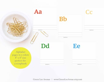 Alphabet Coloring Pages 8x8 ABC Printable Instant