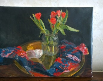 Red tulips on a golden tray oil painting  wall still life flower