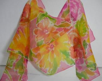 Hand Painted Silk Organza  Watercolor Floral 20 inch x 72 inch Silk Wrap.