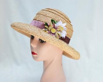Vintage Raffia Straw Rolled Brim Hat / Vintage Natural Straw Hat With Vintage Trim / Vintage Summer Raffia Straw Hat With Velvet Daisies