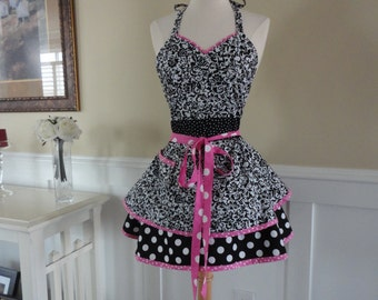 "Black Swirl and Bubble Gum Pink -  ""Sadie Style"" Women's  Apron - 4Retro Sisters"