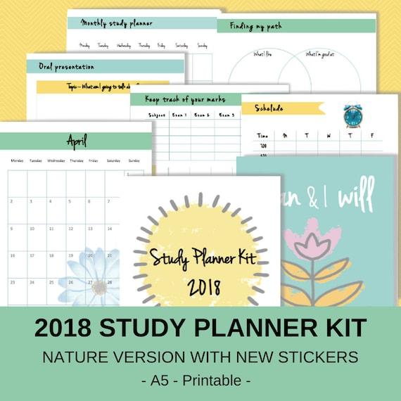 Study Planner A5 2018 Study Planner Kit 2018 Study Calendar