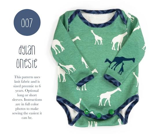 007 Dylan Onesie PDF Sewing Pattern Baby Bodysuit Kids Boy or