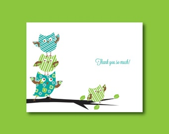Personalized Baby Thank you cards, owl baby shower thank you cards (set of 10)