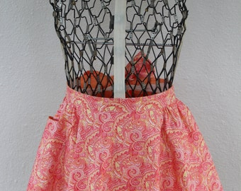 Pink Paisley and Orange reversible apron skirt
