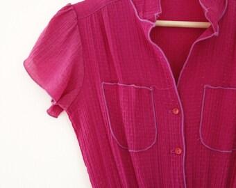 vintage 80s fuchsia dress