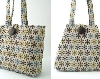 Fabric tote bag, shoulder bag, floral handbag, everyday bag, shoulder purse, floral tote bag, retro purse, hobo bag