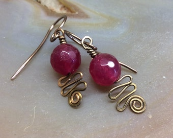 Genuine Ruby Dangle Earrings Wirework Hammered Antique Gold Bronze 1.99 Shipping USA