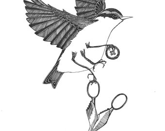 surrealist nuthatch absconds with your embroidery scissors and a button ORIGINAL artwork bird ink drawing illustration 6 x 8