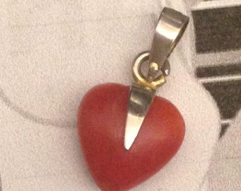 Vintage Silver Gilt Carved Red Coral Heart Pendant