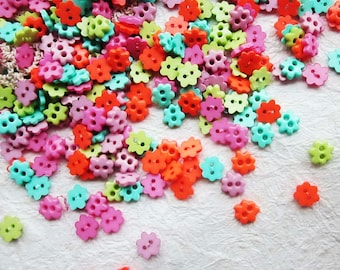 Tiny 2 hole flower button - 6 mm.  100 pcs assorted colors for making Barbie, Blythe and dolls clothes SET11