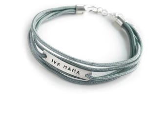 IVF Mama Bracelet, Sage Silk Wrap Style Bracelet, Infertility Jewelry, IVF Jewelry, Sterling Silver, IVF Gift, Mother's Day Gift, Faux Wrap