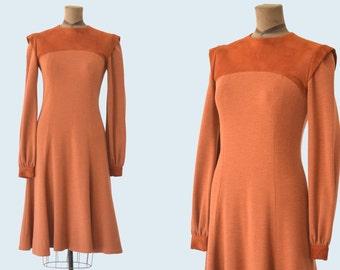 1960s Mod Burnt Orange Suede Sweater Dress size M
