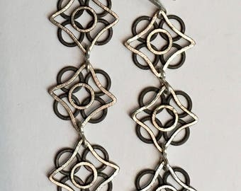 Cold Iron and Moonlight - Compass Rose Triad Earrings of Fine Silver