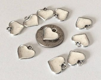 10 Small Puffy heart charms or Pendants, Heart necklace, heart charms, Antiqued love charms