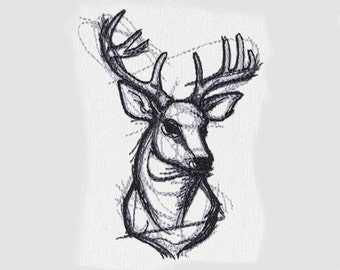 Stag Sketchwork Tea Towel   Embroidered Towel   Embroidered Kitchen Towel   Deer Head   Personalized Kitchen Towel   Sketchwork Towel
