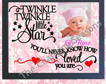 Personalized Baby name frame, Twinkle Twinkle Little Star frame, personalized picture frame, child's decor, nursery decor, baby shower gift