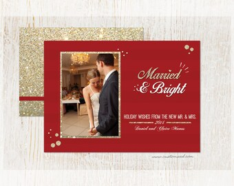 Newlywed Christmas Card - Married and Bright - Photo Holiday Card - Printable - Wedding - Fast Service