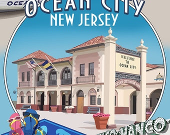 Ocean City, New Jersey - Montage (Art Prints available in multiple sizes)